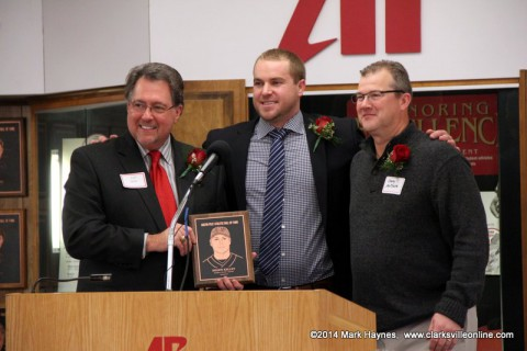 Shawn Kelley receiving his APSU Athletics Hall of Fame plaque. (L to R) Jeff Bibb; APSU Athletics Hall of Fame Committee Chair, Kelley, APSU Head Baseball Coach Gary McClure.