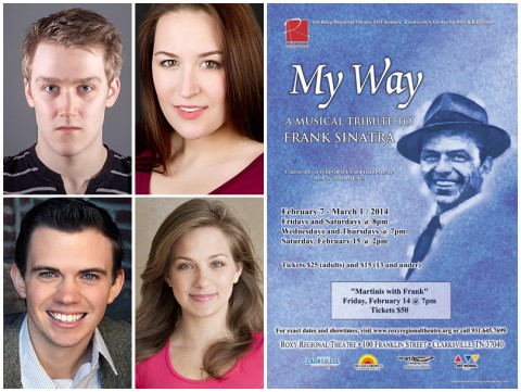 MY Way at the Roxy Regional Theatre starring (Top L to R) Michael Spaziani, Allie McCaw, Ryan Bowie and Morgan Billings.