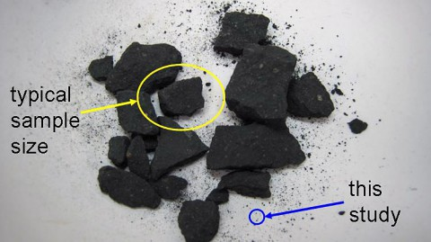 This photo compares the sample size typically used in meteorite studies (yellow oval) to the sample size used with the new equipment (blue circle) in Goddard's Astrobiology Analytical Laboratory. (Michael Callahan)