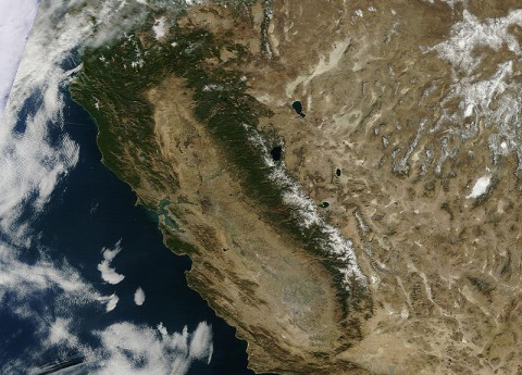 California is currently experiencing one of its driest years on record, with 100 percent of the state in drought conditions as of this week. (NASA Earth Observatory)
