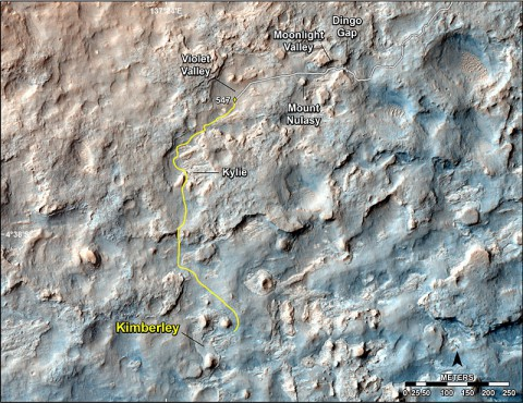 "This map shows the route driven and route planned for NASA's Curiosity Mars rover from before reaching ""Dingo Gap"" -- in upper right -- to the mission's next science waypoint, ""Kimberley"" (formerly referred to as ""KMS-9"") -- in lower left. (NASA/JPL-Caltech/Univ. of Arizona)"