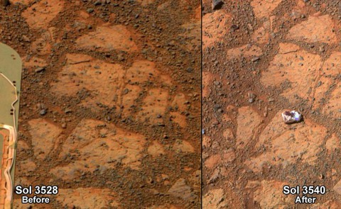 These two images from Mars rover Opportunity show a rock resembling a jelly donut appearing in January 2014.