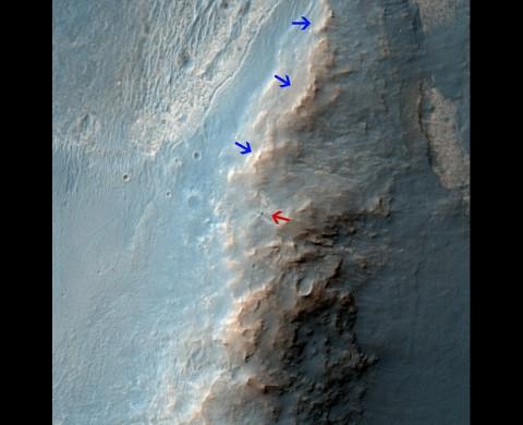 The High Resolution Imaging Science Experiment (HiRISE) camera on NASA's Mars Reconnaissance Orbiter caught this view of NASA's Mars Exploration Rover Opportunity on Feb. 14, 2014. (NASA/JPL-Caltech/Univ. of Arizona)