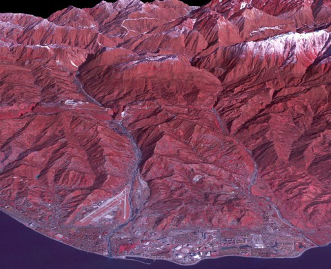 ASTER satellite image of the 2014 Sochi Winter Olympic Games Coastal Cluster, the site for arena sports and the opening and closing ceremonies. (NASA/GSFC/METI/ERSDAC/JAROS, and U.S./Japan ASTER Science Team)