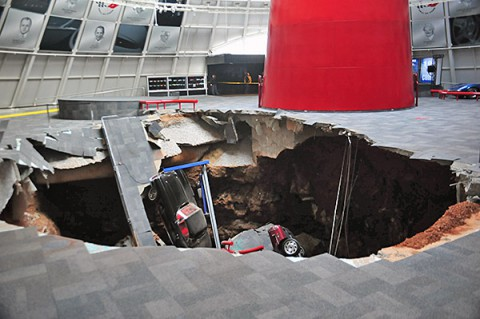 National Corvette Museum loses eight corvettes to sinkhole Collapse in Skydome on Wednesday, February 12th, 2014, at 5:44am.