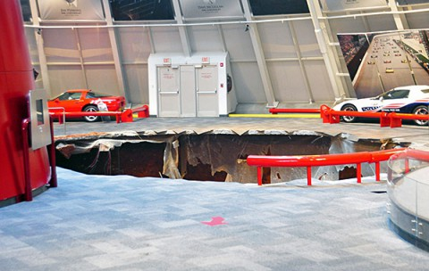 The sinkhole is located in the National Corvette Museum's Skydome.
