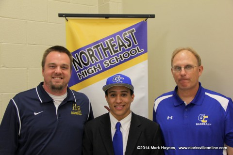 Northeast High School baseball player Ben Wilford signs with Gulf Coast. (Pictured L to R) Dustin Smith, Wilford, and Gulf Coast coach Mike Kandler.