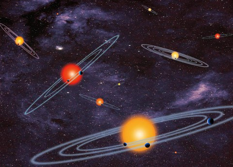 "The artist concept depicts ""multiple-transiting planet systems,"" which are stars with more than one planet. (NASA)"