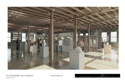 A rendering of the interior of the renovated building provided by Gilbert McLaughlin Casella Architects.