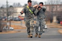 "Soldiers assigned to 3rd Brigade Combat Team ""Rakkasans,"" 101st Airborne Division (Air Assault), carry a 45 pound water jug during the 'Best Rakkasan' competition, here, Feb. 20, 2014. The competition was held was the first of its kind and was designed to measure the overall proficiency of selected teams and award them with the title of 'Best Rakkasan' through competitive events. (Sgt. Brian Smith-Dutton/U.S. Army)"