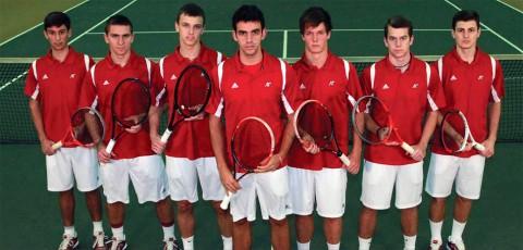 2013-14 Men's Tennis Team: Standing (L-R): Manuel Montenegro, Jasmin Ademovic, Aleksas Tverijonas, Iago Seffrin, James Mitchell, Evan Borowski, Dimitar Ristovski.