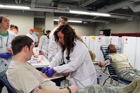 5th Special Forces Group (Airborne) blood drive in support of the local Red Cross on at Fort Campbell, KY. (Staff Sgt. Barbara Ospina)