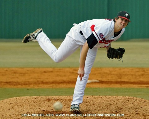 APSU pitcher A.J. Gaura on the mound against Iowa. (Michael Rios-Clarksville Sports Network)