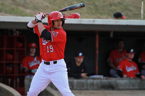 Austin Peay catcher P.J. Torres had a two-run home run in Saturday's doubleheader at Jacksonville State. (Brittney Sparn/APSU Sports Information)