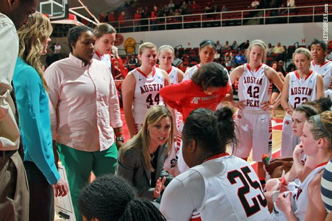 Austin Peay Women's Basketball gets OVC Team Sportsmanship Award. (Brittney Sparn/APSU Sports Information)