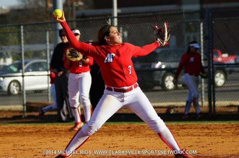 APSU pitcher Brianna Bartuccio gets her first collegiate shutout against the Alabama A&M Lady Bulldogs in Game 2.
