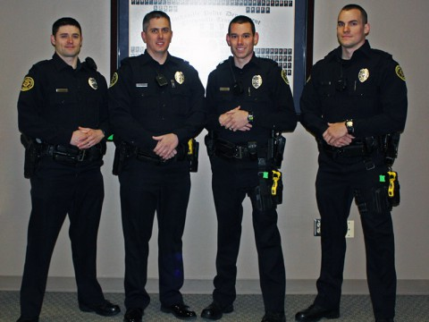 Officers in order from left to right (Group Picture): James Baker, George Goodman, Daniel Binkley (PT Wall), and Holden Hudgin (PT Award, Driving Award, and PT Wall).