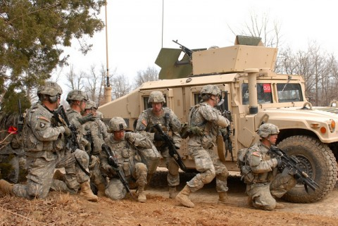 Soldiers with Company C, 1st Battalion, 187th Infantry Regiment, 3rd Brigade Combat Team 'Rakkasans'  take cover after their patrol is attacked by a roadside bomb during a platoon Live Fire Exercise on March 14th, 2014. (Staff Sgt. Joel Salgado/U.S. Army)