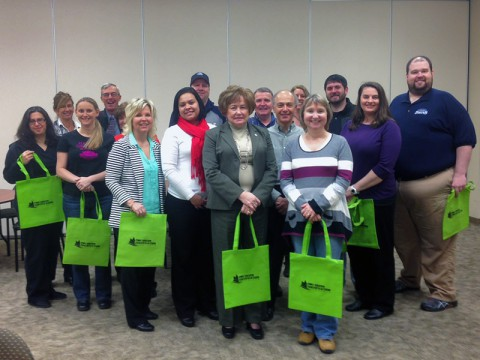 The first group of 2014 completes the Clarksville-Montgomery County Green Certification workshop series. Pictured from left to right are: Back Row: Tia Suiter; Keith Roberts; Mike Vietenheimer; Tim Sawyer; Yvonne Chamberlain; Adam Bibb; Andrea Jacobsen and Dan Utt. Front Row : Lisa Izzy; Amanda Rose; Frances Traughber (peeking out); Angie Henson; Susan Dolnak; Mayor Carolyn Bowers; George Gallardo and Maria Terry.