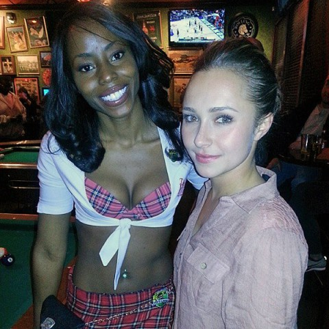 Hayden Panettiere with one of the Tilted Kilt girls Wednesday night.
