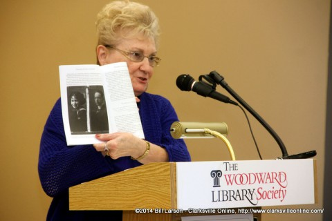 Author Sue Culverhouse speaking at the Woodward Library Society's WInter Program
