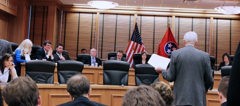 Tennessee State Representative John Tidwell in front of the Civil Justice Committee.