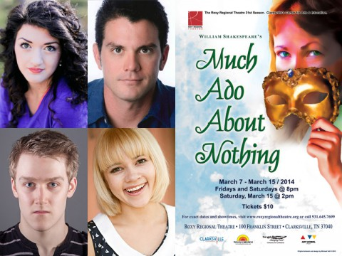 "(Top L to R)Taylor Galvin, Brandon Beach, Michael Spaziani and Michelle Foletta star in the Roxy production of Shakespeare's ""Much Ado About Nothing""."