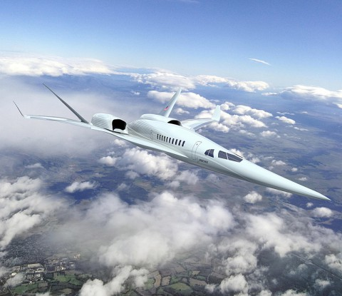 This rendering shows The Boeing Company's future supersonic advanced concept featuring two engines above the fuselage.  (NASA/Boeing)