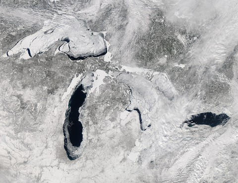 This image, acquired by the Moderate Resolution Imaging Spectroradiometer (MODIS) on NASA's Aqua satellite, shows the Great Lakes on February 19, 2014, when ice covered 80.3 percent of the lakes. (Jeff Schmaltz, LANCE/EOSDIS MODIS Rapid Response Team, NASA)
