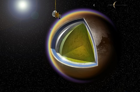 This artist's concept shows a possible model of Titan's internal structure that incorporates data from NASA's Cassini spacecraft. (A. D. Fortes/UCL/STFC)