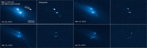 This series of Hubble Space Telescope images reveals the breakup of an asteroid over a period of several months starting in late 2013. The largest fragments are up to 180 meters (200 yards) in radius.