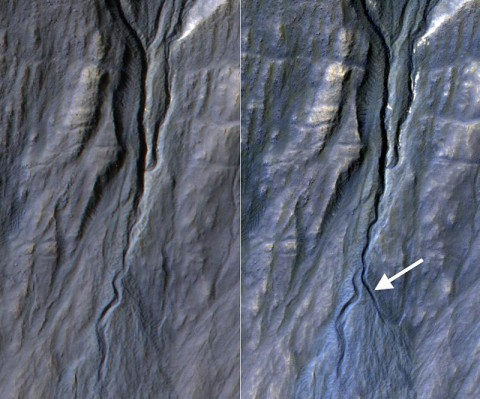 This pair of before (left) and after (right) images from the High Resolution Imaging Science Experiment (HiRISE) camera on NASA's Mars Reconnaissance Orbiter documents formation of a new channel on a Martian slope between 2010 and 2013, likely resulting from activity of carbon-dioxide frost. (NASA/JPL-Caltech/Univ. of Arizona)