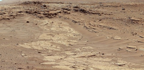 "Sandstone layers with varying resistance to erosion are evident in this Martian scene recorded by the Mast Camera on NASA's Curiosity Mars rover on Feb. 25, 2014, about one-quarter mile (about 400 meters) from a planned waypoint called ""the Kimberley."" (NASA/JPL-Caltech/MSSS)"