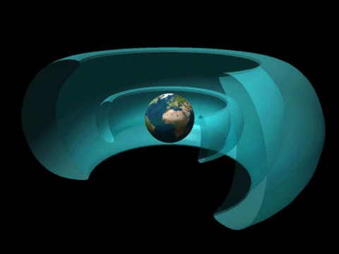 Two giant belts of radiation surround Earth. The inner belt is dominated by electrons and the outer one by protons.  (NASA)