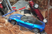 "The 2009 ""Blue Devil"" ZR1 in the sinkhole before recovery"