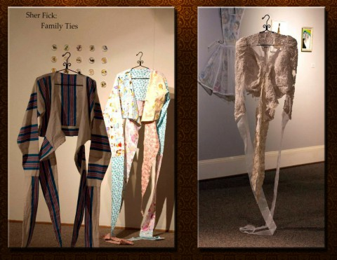 Two items from the Family Ties exhibit by Sher Fick  currently on display at the Customs House Museum