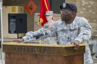 Command Sgt. Maj. Eugene Thomas Jr., a native of Greenville, Fla., addresses the 101st Sustainment Brigade during a change of responsibility ceremony April 14, at Fort Campbell, Ky. Thomas charged leader of the U.S. Army's premier sustainment brigade to embrace and manage change change. (Sgt. 1st Class Mary Rose Mittlesteadt/U.S. Army)