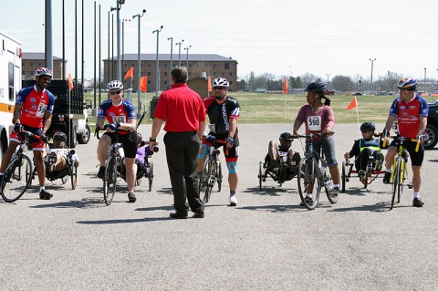 Soldiers and staff from the Fort Campbell, KY. Warrior Transition Battalion prepare to take off during the cycling trial April 1, 2014 for the upcoming Warrior Games.  (U.S. Army photo by Sgt. Eric Lieber/RELEASED)