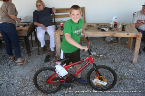 Eli Flanery was one of the lucky winners of a bicycle.