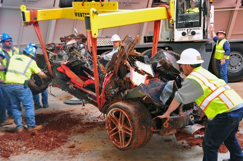 "2001 Mallett Hammer Z06 is the last ""Great 8"" Corvette to be removed from the sinkhole. (National Corvette Museum)"