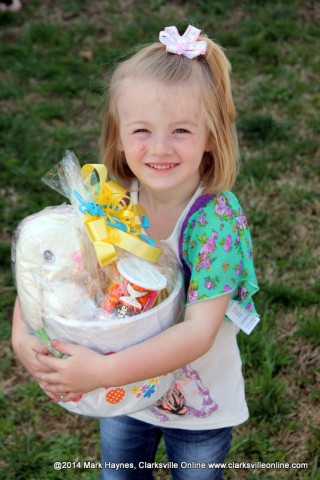 One of the lucky winners at the 2014 Cunningham Fire Department Easter Egg Hunt.