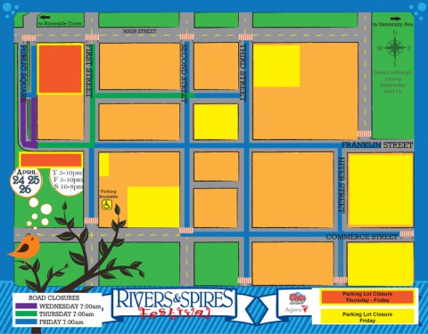 Rivers and Spires Street Closures.