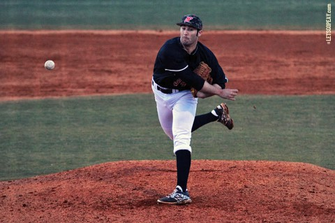 Austin Peay Junior Caleb DeLee limited Western Kentucky to three runs in six innings, Tuesday night. (Brittney Sparn/APSU Sports Information)