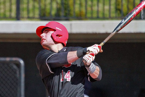 Govs' left fielder Ridge Smith's two-run home run provided the game-winning tallies in Austin Peay's win at Tennessee Tech, Saturday. (Brittney Sparn/APSU Sports Information)