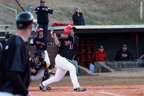 Designated hitter Dre Gleason's two-run single in the eighth provided the Govs the game-winning runs in a 5-3 victory against Memphis, Wednesday. (Brittney Sparn/APSU Sports Information)