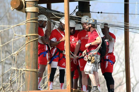Austin Peay Governors Football at Fort Campbell's Outdoor Recreation Challenge Course. (Brittney Sparn/APSU Sports Information)