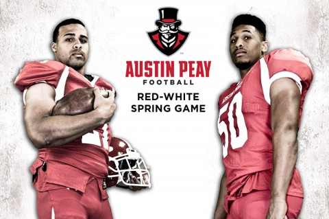 Austin Peay's Rashaan Coleman and Antonio Turner lead the Govs into the annual Red-and-White Spring Game at Fort Campbell's Fryar Stadium. (APSU Sports Information)