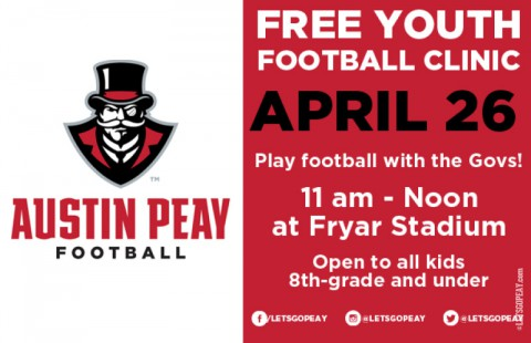 Austin Peay to hold Free Youth Football Clinic Saturday, April 26th. (APSU Sports Information)