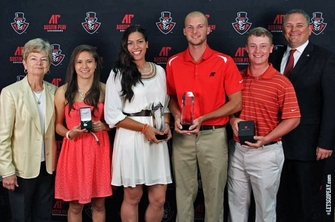 (L to R) Cheryl Holt, Tatiana Ariza, Lauren de Castro, Marco Iten, Anthony Bradley, and Derek van der Merwe. (Brittney Sparn/APSU Sports Information)
