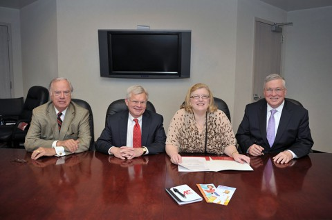Brown Family Foundation members Joe Gaston, Bill Goodman and Virginia Brown sign paperwork with APSU President Tim Hall establishing a new endowed nursing scholarship at APSU.